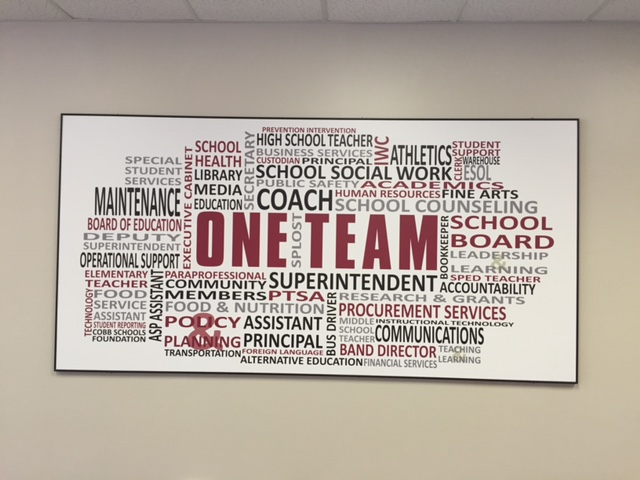 One team sign